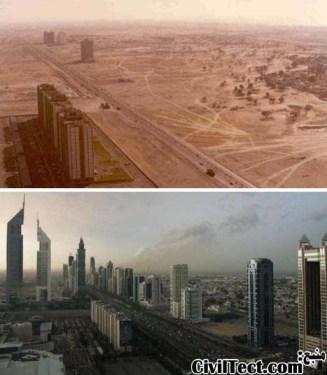 دبی در سالهای 1990 و 2003 میلادی